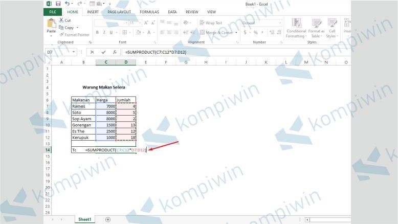 Tutup dengan Tanda ) - Cara Menghitung Total Bayar Di Excel