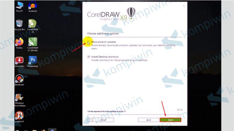 Uncheck pada Allow product updates - Cara Mengatasi Corel X8 Tidak Bisa Diinstall