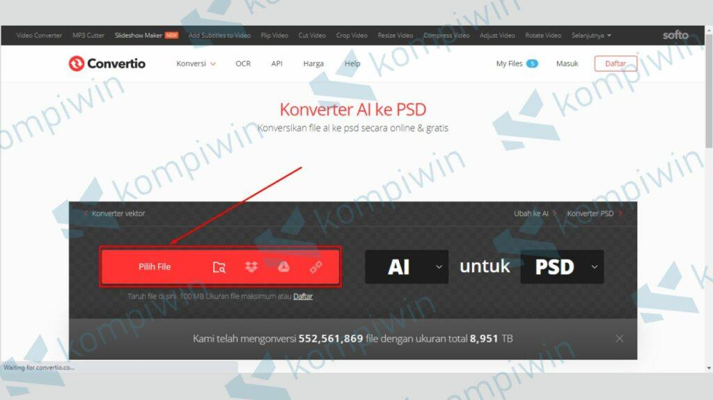 Upload File Ai yang Akan Diconvert ke PSD - Cara Buka File Adobe Illustrator di Photoshop
