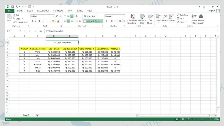 Buat Database Gaji Karyawan