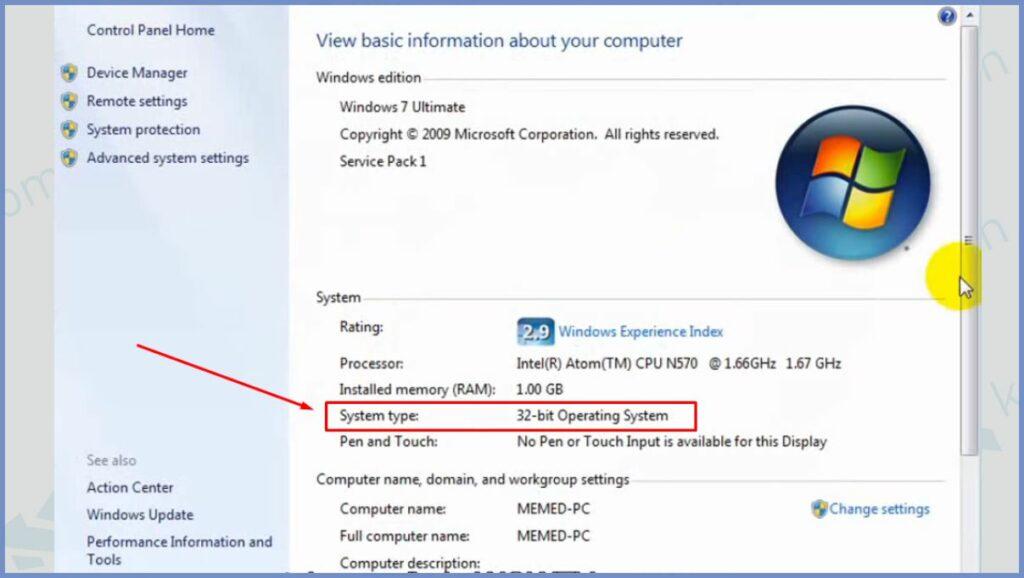 Detail Informasi Bit Windows 7