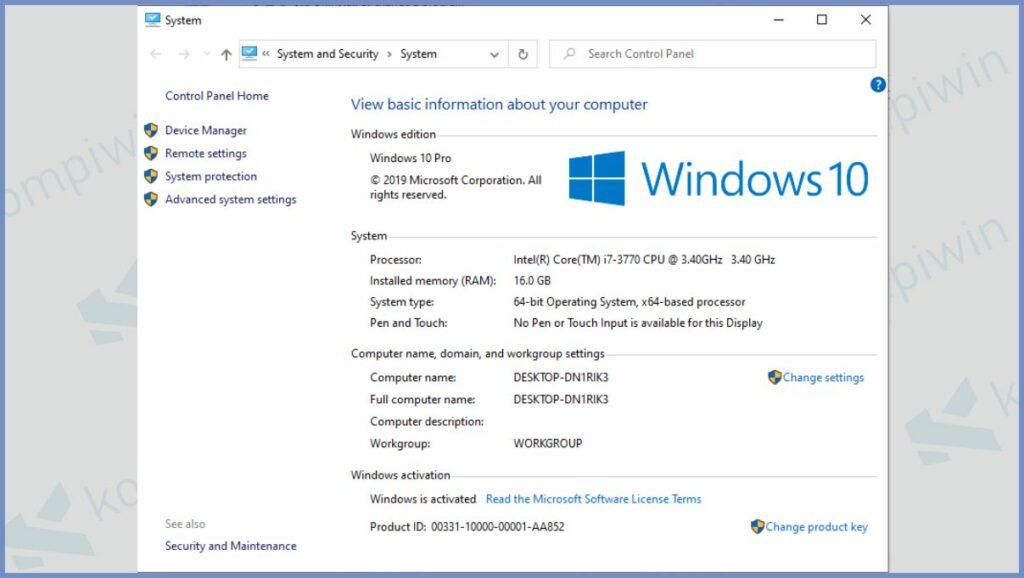 Detail Informasi Windows 10