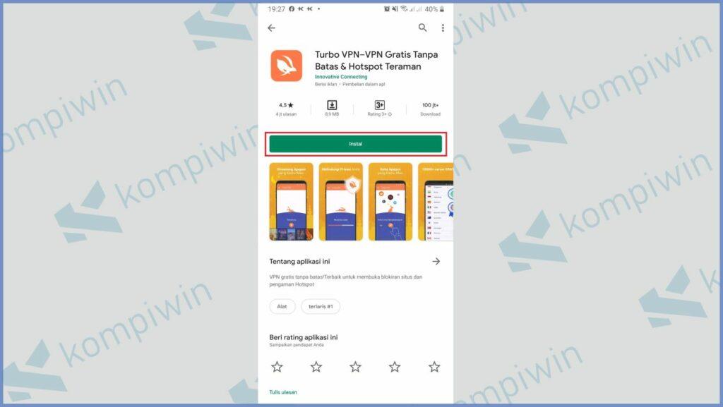 Install aplikasi Turbo VPN