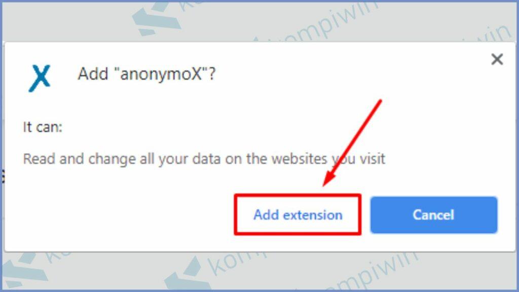 Klik Add extension untuk memasang anonymoX