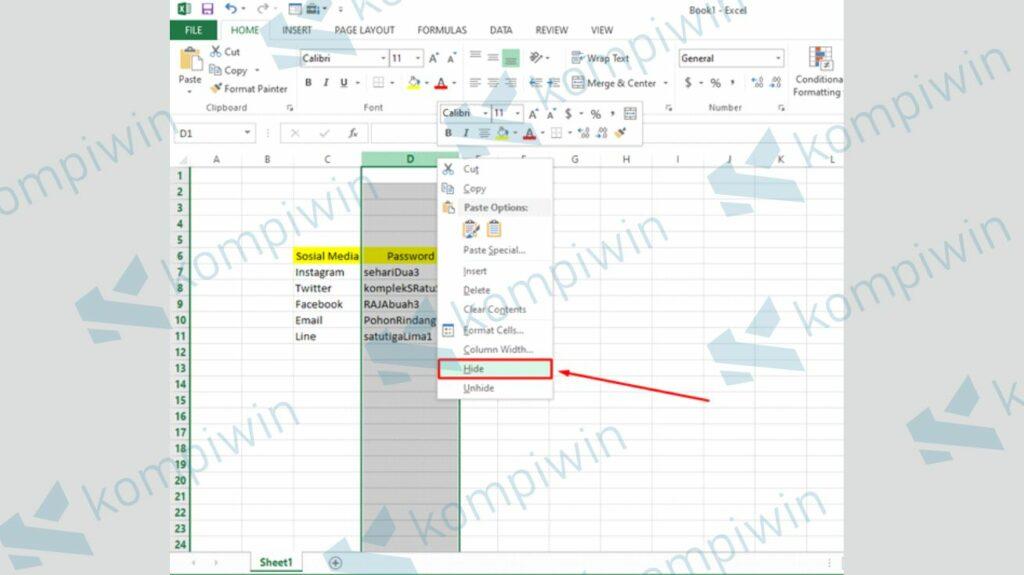 Klik Kanan dan Pilih Tombol Hide - Cara Menyembunyikan Baris dan Kolom di Excel