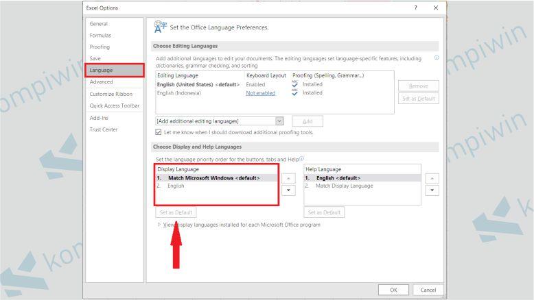 Klik Language dan Ubah Format Bahasanya