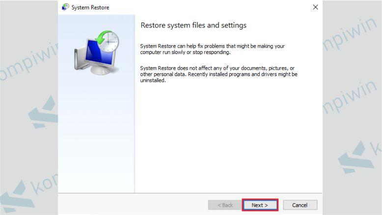 Klik Next untuk Memulai Restore Windows 10