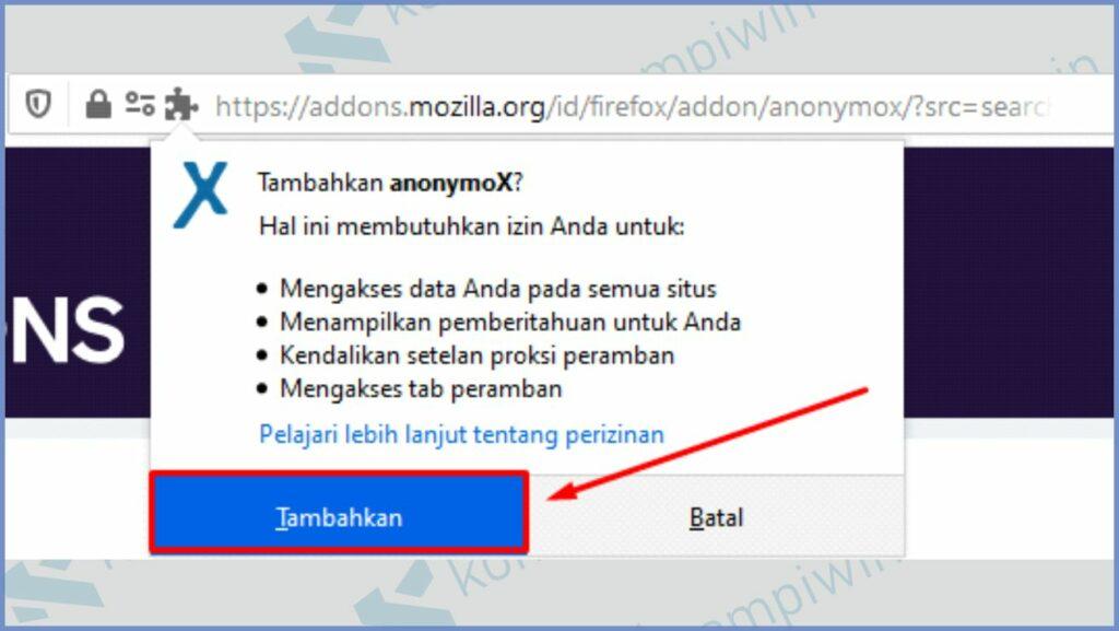 Klik Tambahkan untuk memasang anonymoX di Mozilla Firefox