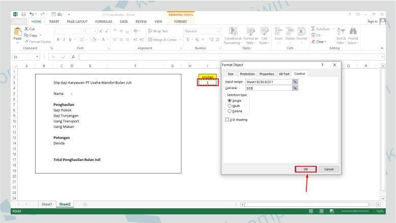 Klik pada Urutan untuk Menghubungkan Data List Box Form