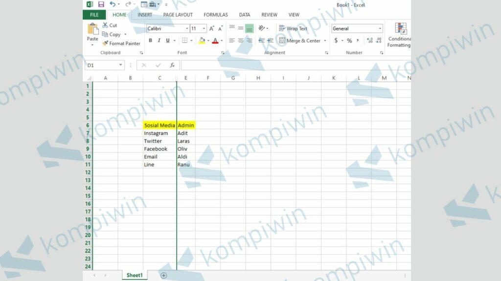 Kolom Selesai Disembunyikan - Cara Menyembunyikan Baris dan Kolom di Excel