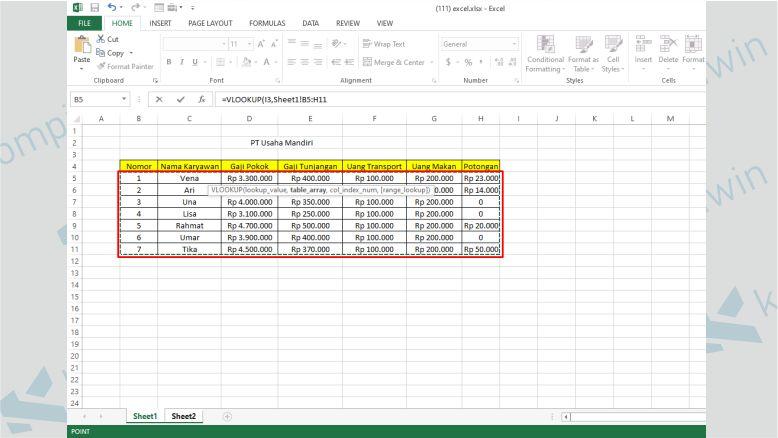 Lalu Blok Semua Kolom Database di Sheet1