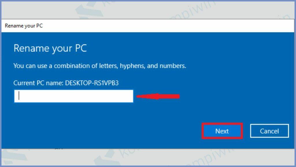 Masukkan Nama PC Baru