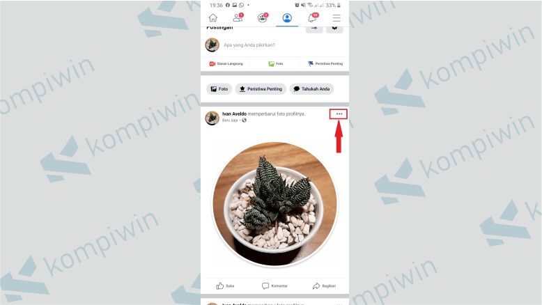 Pilih Ikon Tiga Titik di Postingan Pembaruan Foto Profil