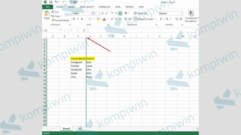 Pilih Kolom atau Baris yang Disembunyikan (Hide) - Cara Menyembunyikan Baris dan Kolom di Excel