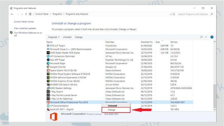 Pilih Microsoft Office dan Klik Change