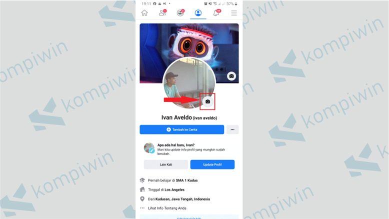 Tekan Ikon Kamera untuk Ganti Foto Profil Facebook