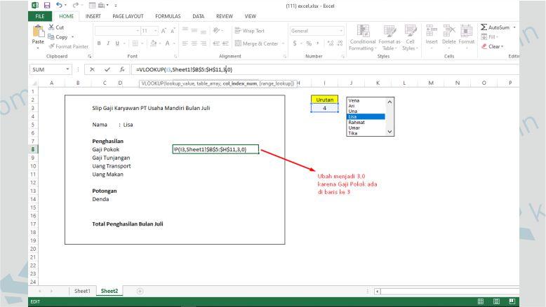 Ubah Column Index dan Sesuikan dengan Kolom di Sheet1