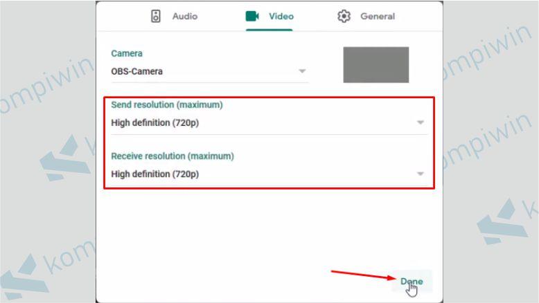 Atur Resolusi Video yang Diterima dan Dikirim