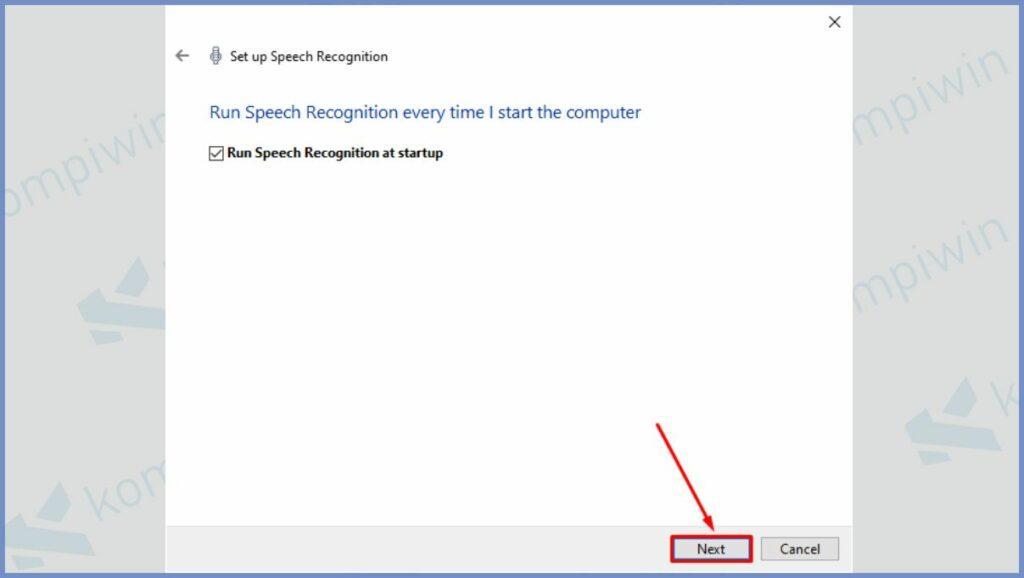 Centang pada Run Speech Recognition at startup