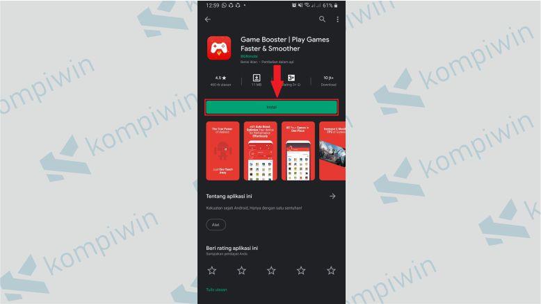 Install aplikasi Game Booster