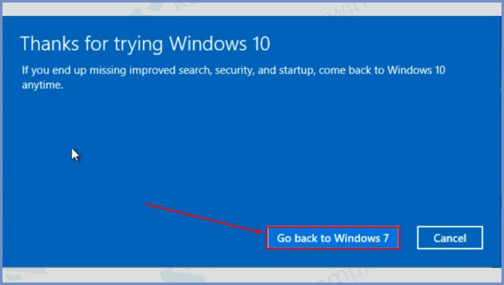 Klik Go back to Windows 7