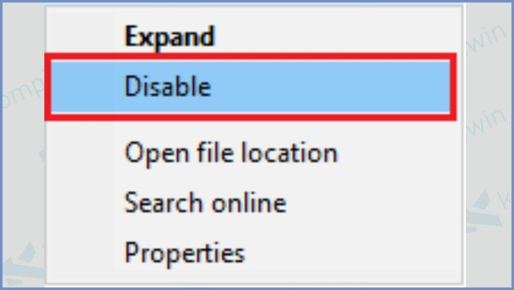 Klik Kanan di Chrome dan Pilih Disable