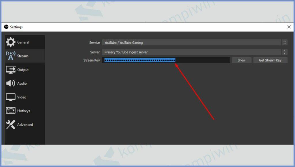 Masukkan Stream Key YouTube yang sudah dicopy