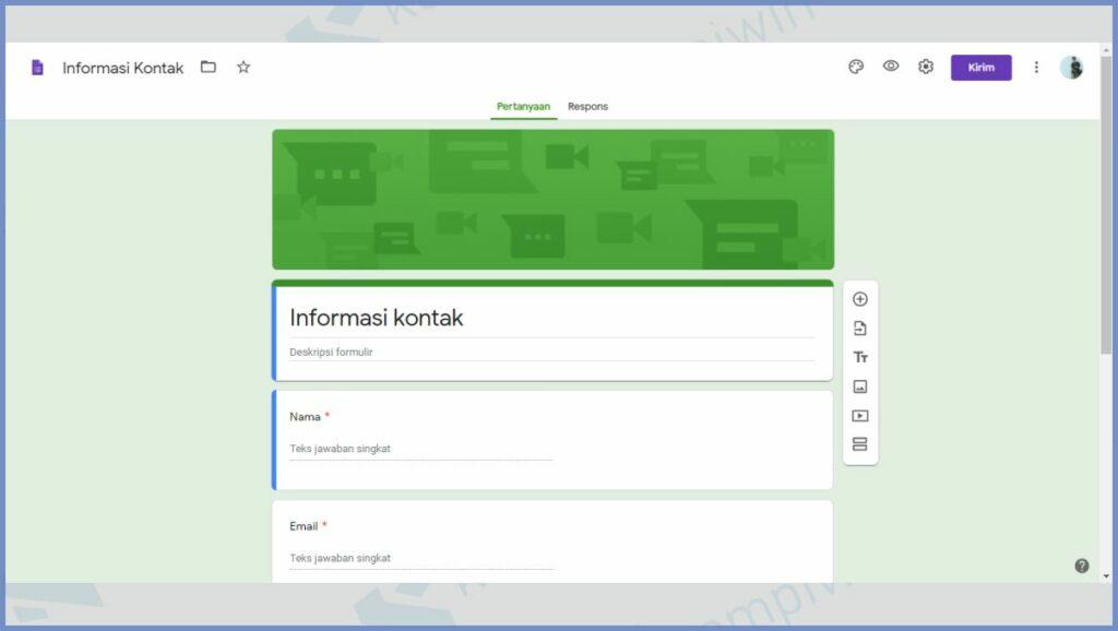 Membuat Form Informasi Kontak