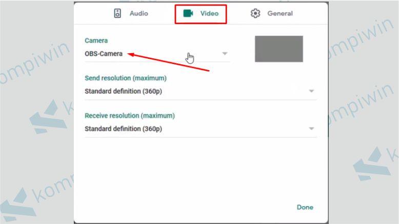 Pada Opsi Camera, Silahkan Pilih OBS Camera di Pengaturan Google Meet