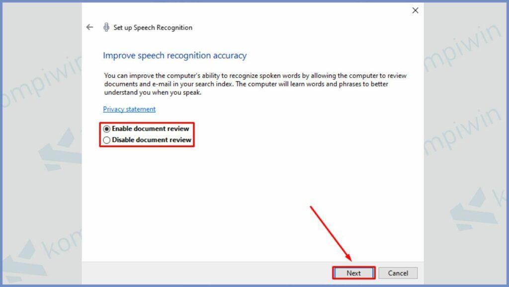 Pilih Enable document review dan klik Next