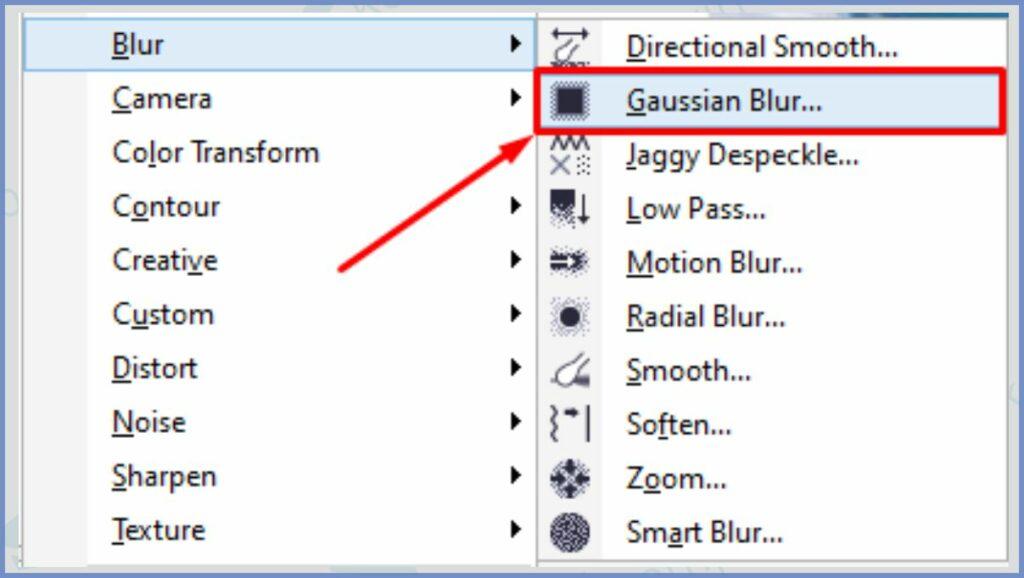 Pilih Gaussian Blur