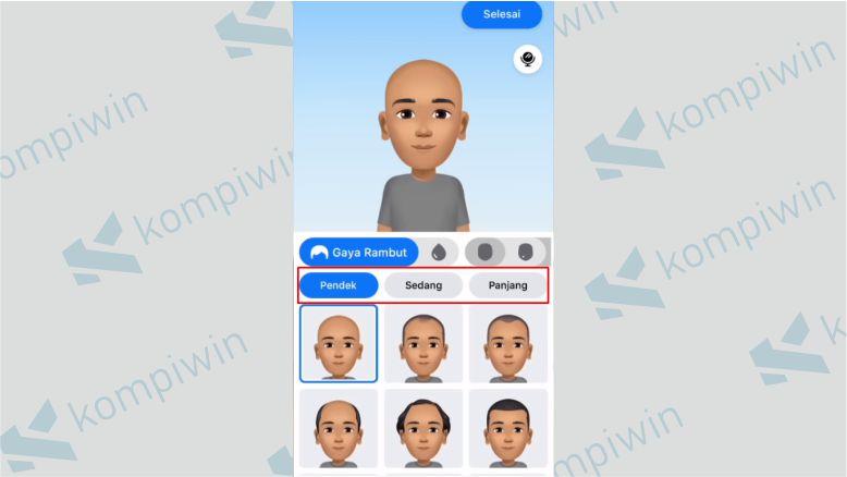 Pilih Gaya Rambut untuk Avatar
