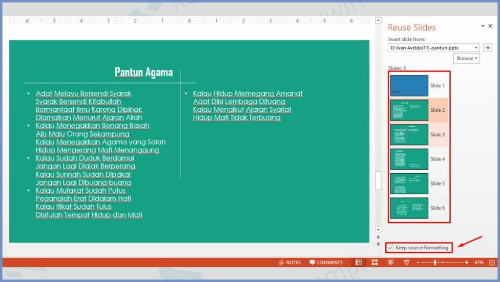Pilih Slide yang Mau Digabung dan Centang Keep source formatting