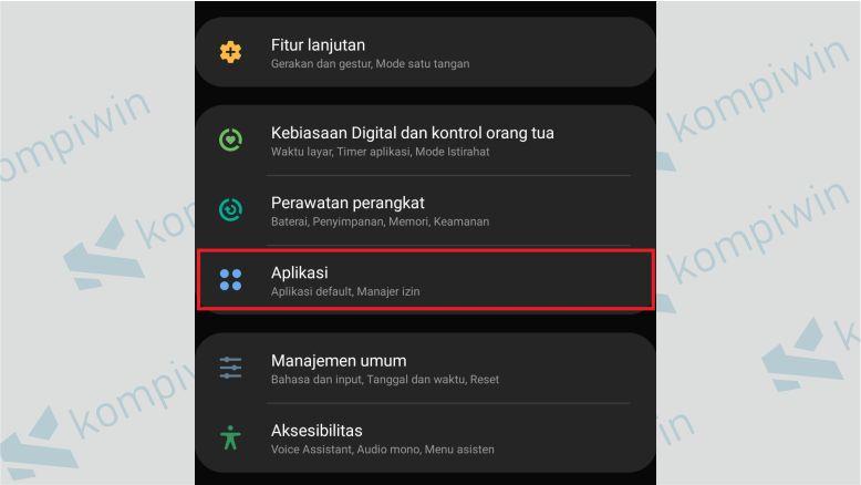 Pilih tab Aplikasi
