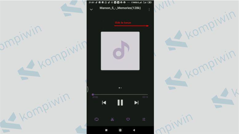 Putar musik dengan aplikasi bawaan Xiaomi