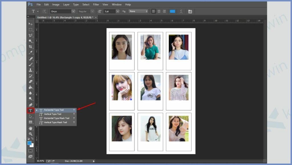 Tambah keterangan foto dengan Horizontal Type Tool