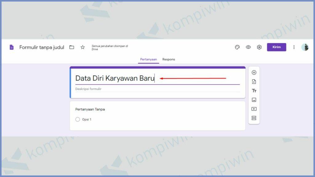 Tambahkan Judul Google Form