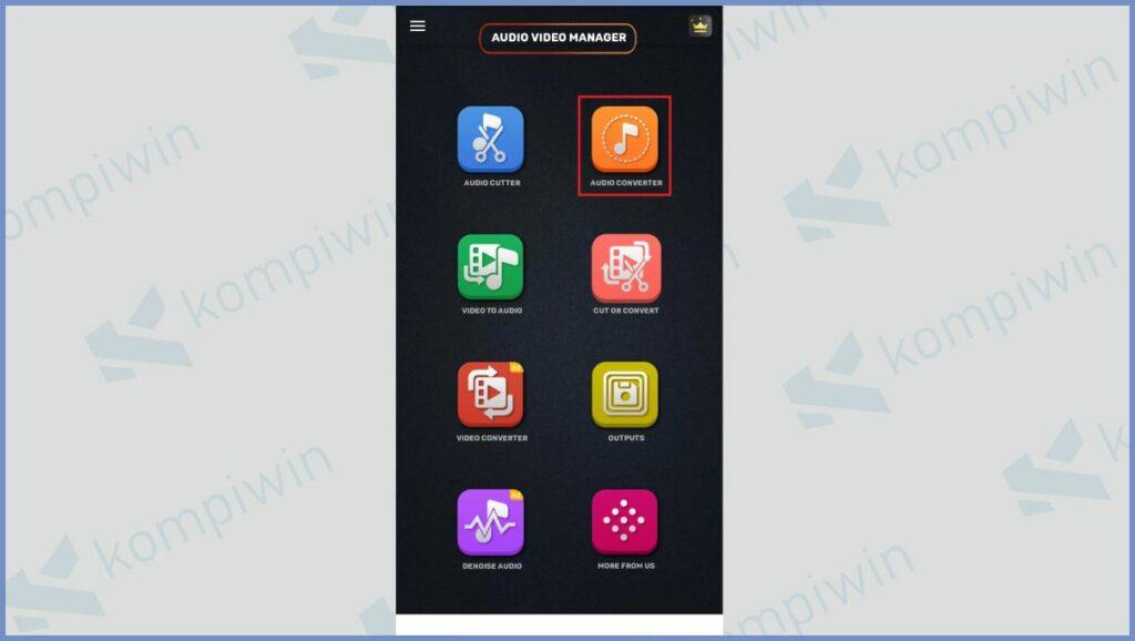 Tap menu Audio Converter