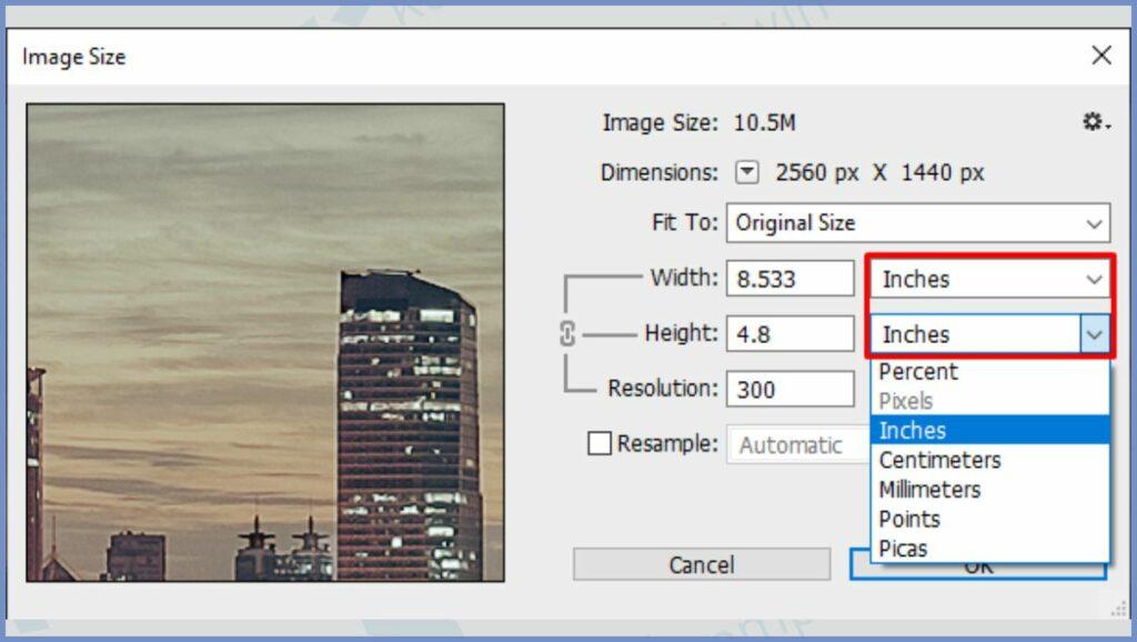 Ubah Format ke Pixel atau Inch
