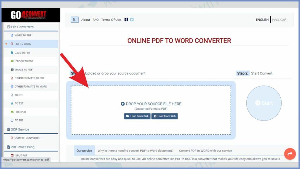 Upload file PDF ke Go4Convert