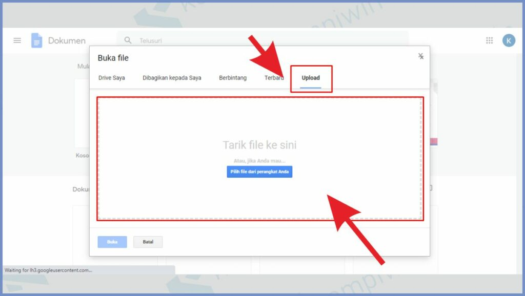 Upload file PDF ke Google Docs