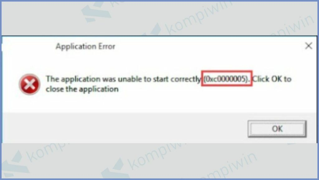 error 0xc0000005 The application was unable to start correctly
