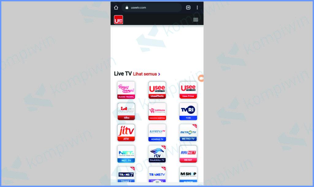 Buka UseeTV Di Website