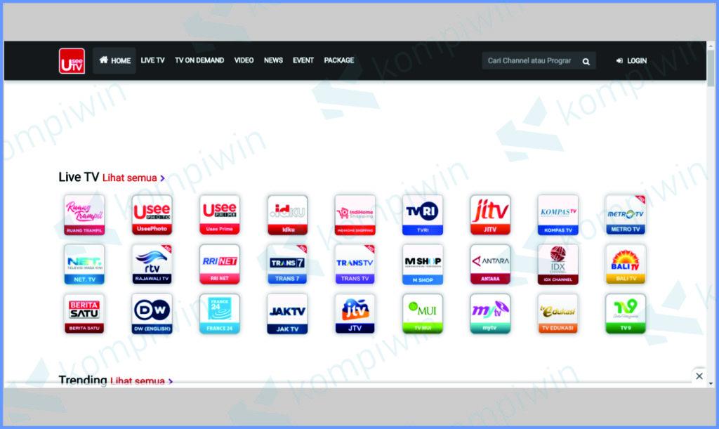 Buka Aplikasi UseeTV Di Website