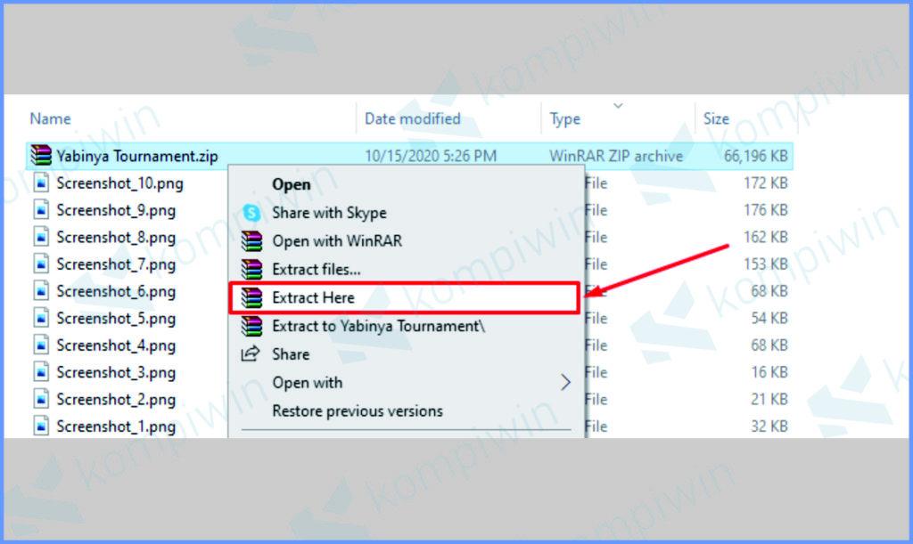 Klik Kanan Untuk Ekstrak File