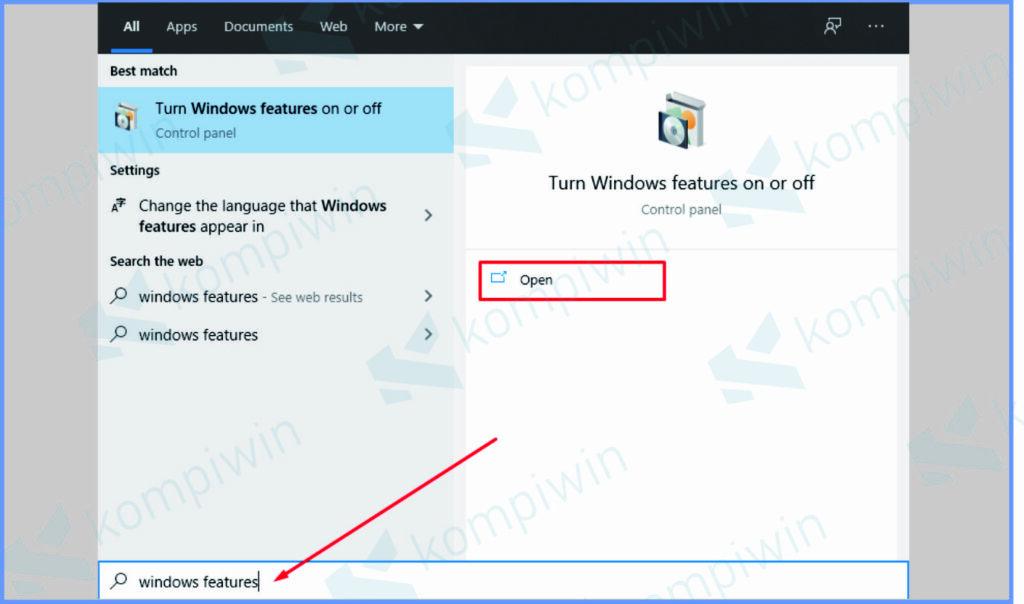 Pencarian Tombol Start Windows Features