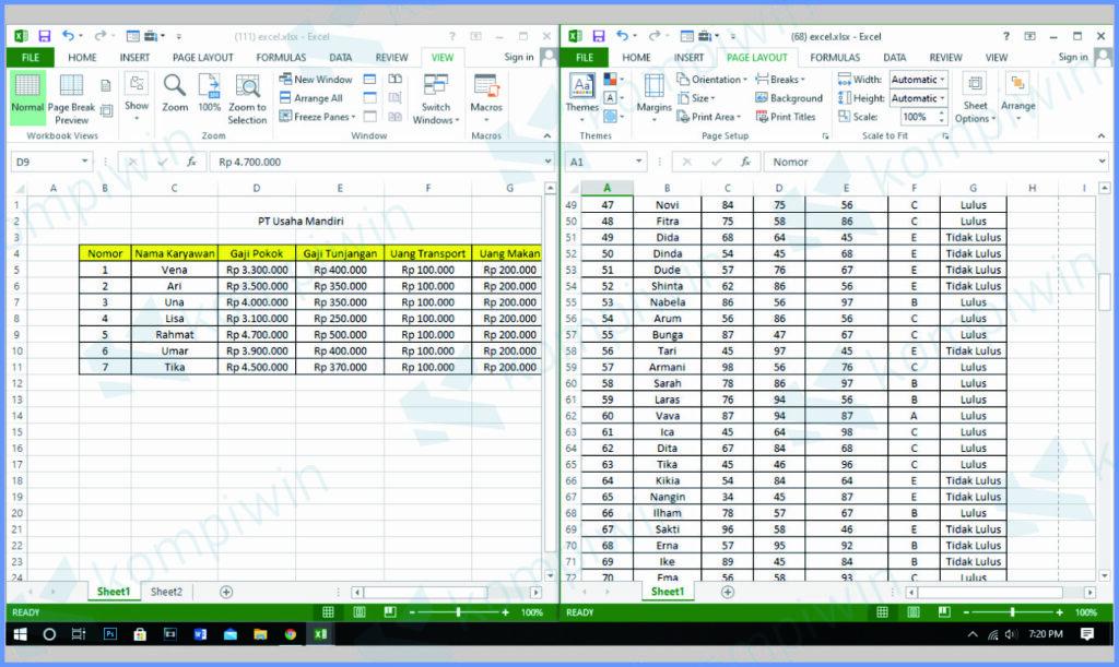 Tampilan Dua File Excel Multitasking