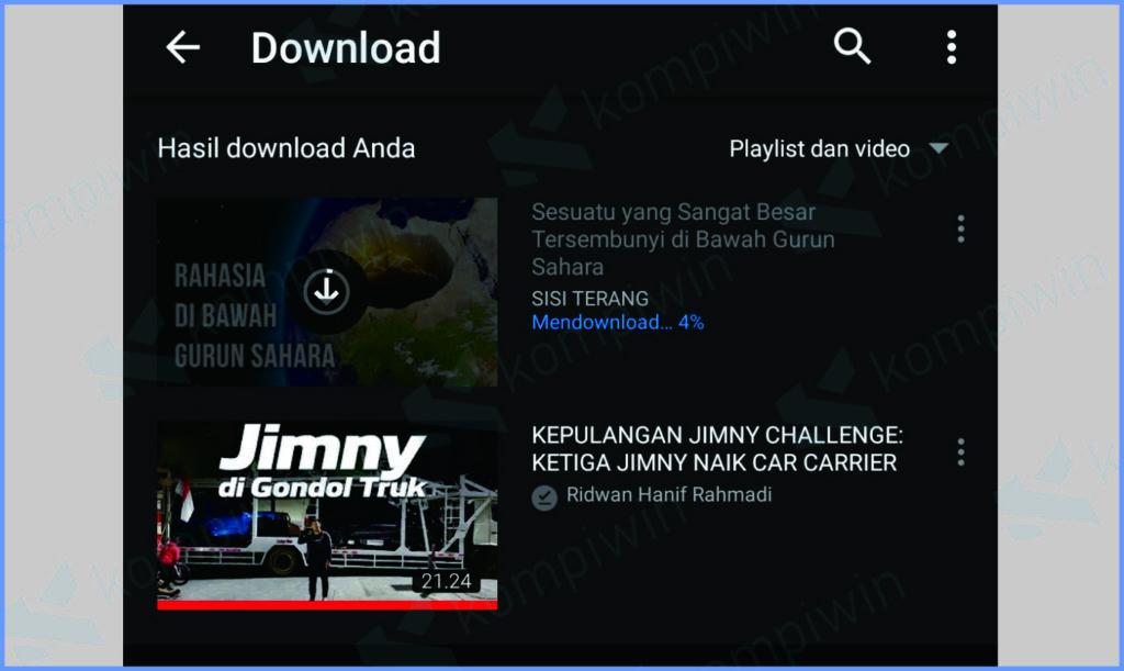 Hasil Download Video Di Youtube