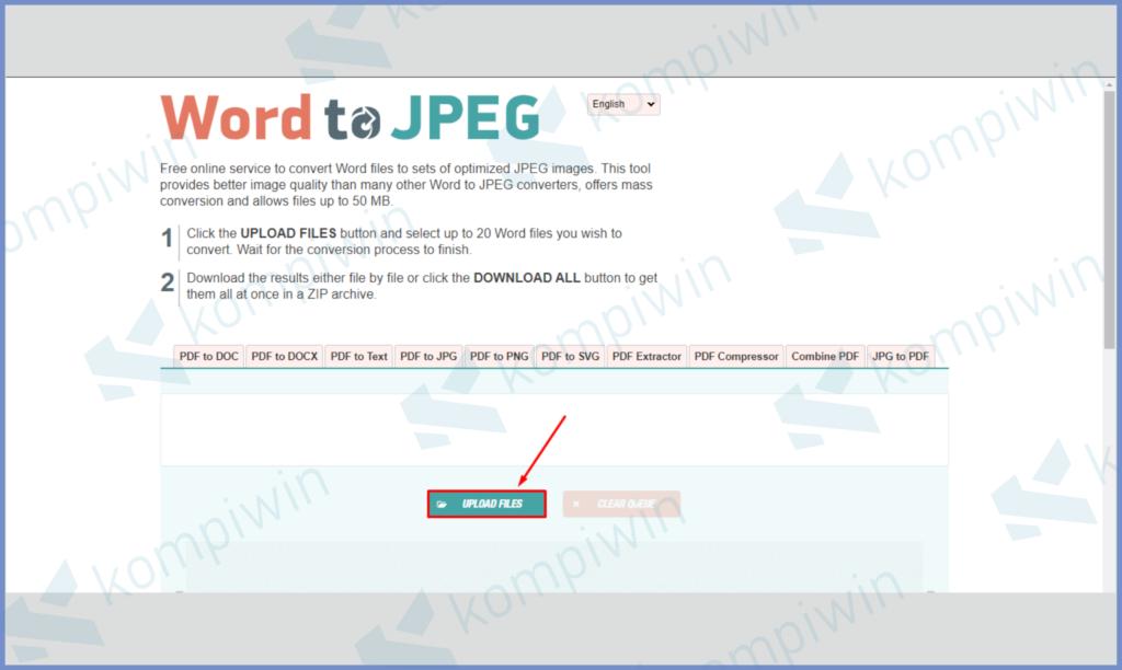 Ketuk Upload File Untuk Mengunggah File Word