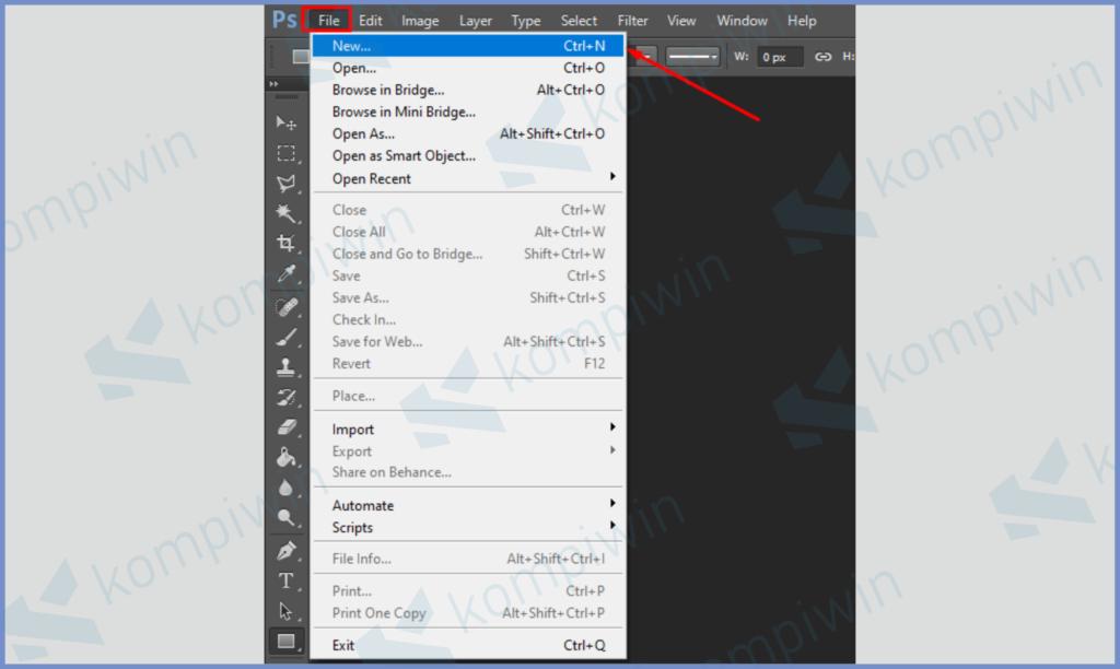 Buka Menu File dan Tekan Tombol New